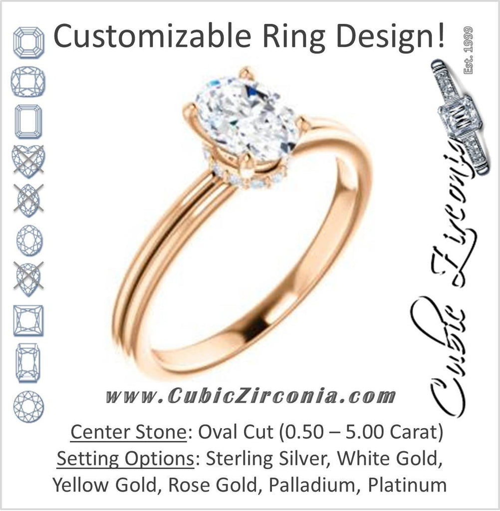 Cubic Zirconia Engagement Ring- The Leslie (Customizable Oval Cut Setting with Under-Halo Trellis)