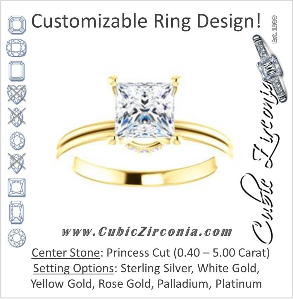Cubic Zirconia Engagement Ring- The Leslie (Customizable Princess Cut Setting with Under-Halo Trellis)