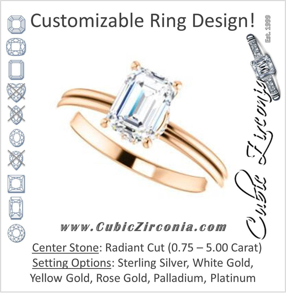 Cubic Zirconia Engagement Ring- The Leslie (Customizable Radiant Cut Setting with Under-Halo Trellis)