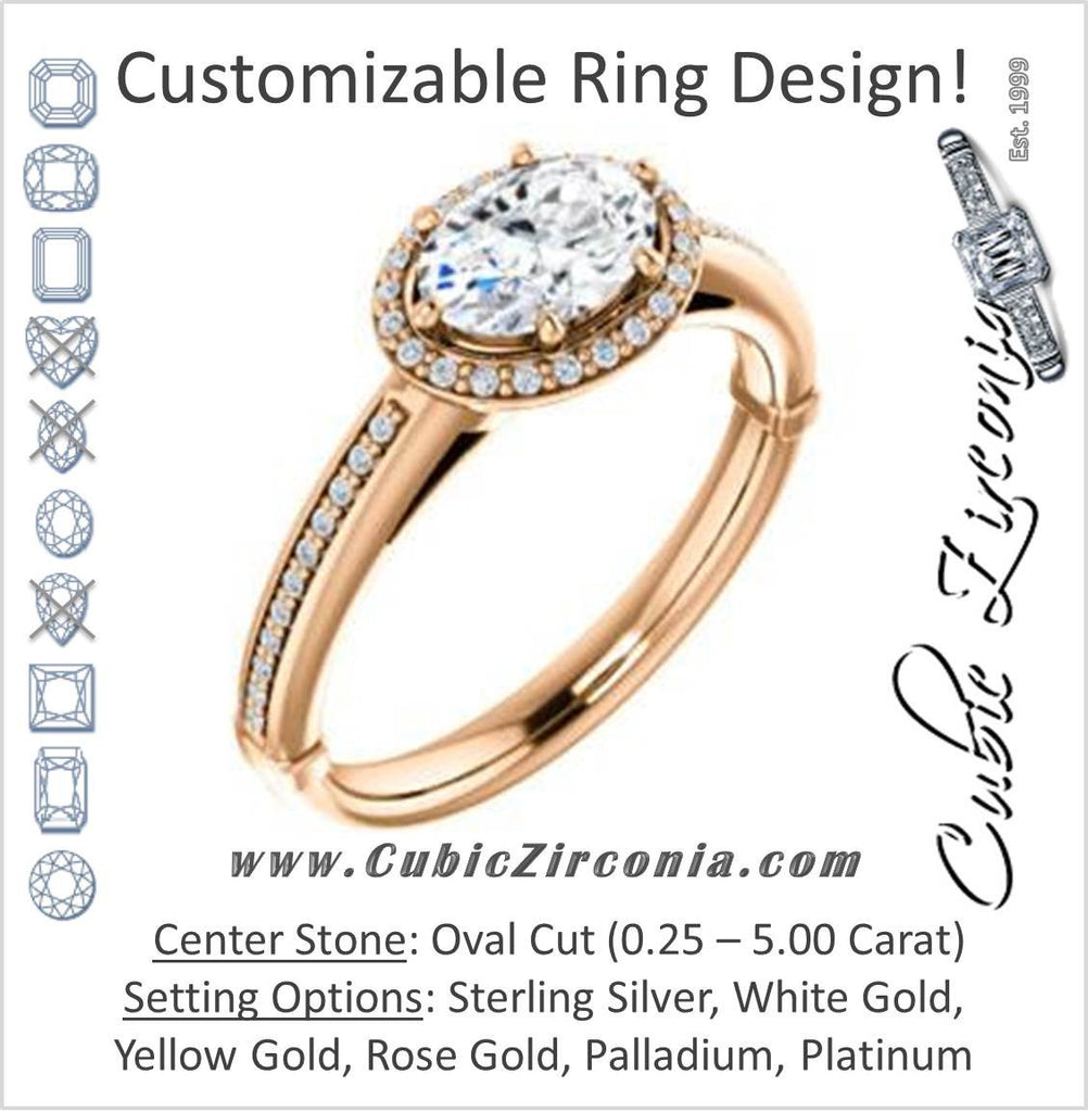 Cubic Zirconia Engagement Ring- The Letitia (Customizable Cathedral-set Oval Cut Halo Style with Pavé Band)