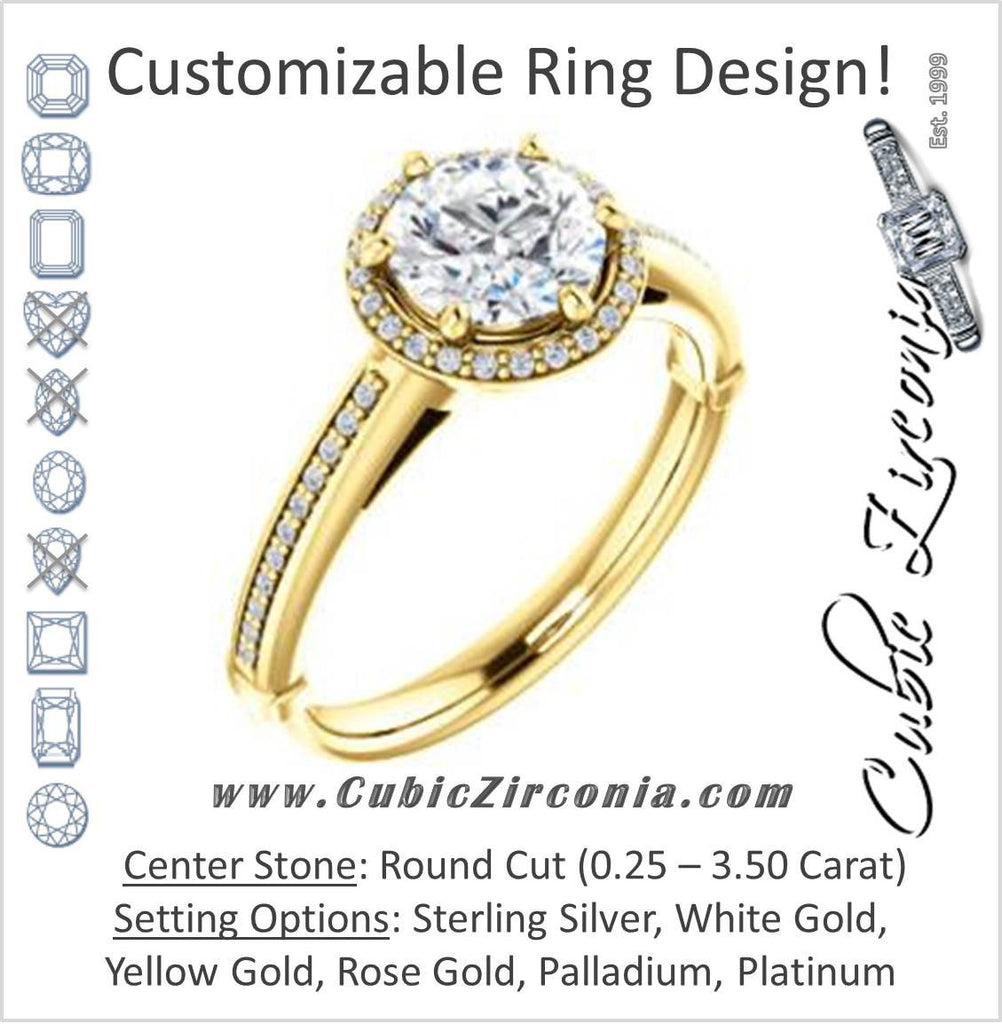Cubic Zirconia Engagement Ring- The Letitia (Customizable Cathedral-set Round Cut Halo Style with Pavé Band)