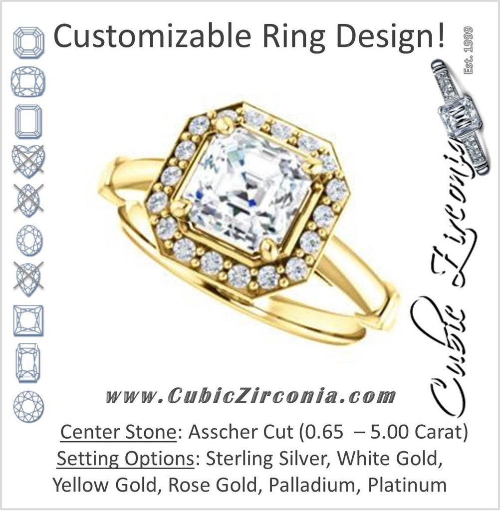 Cubic Zirconia Engagement Ring- The Lianna (Customizable Halo-Style Asscher Cut Design)