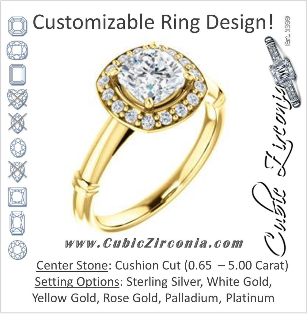 Cubic Zirconia Engagement Ring- The Lianna (Customizable Halo-Style Cushion Cut Design)