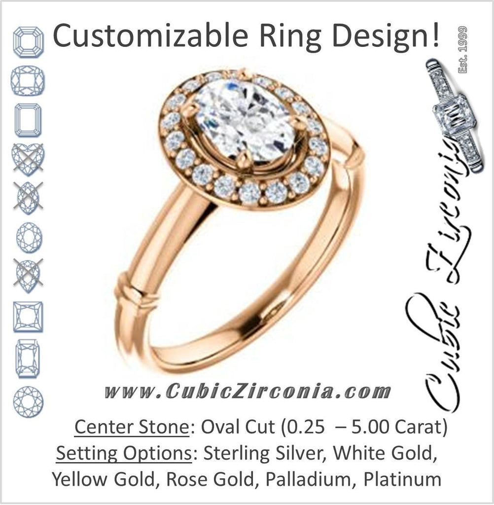 Cubic Zirconia Engagement Ring- The Lianna (Customizable Halo-Style Oval Cut Design)