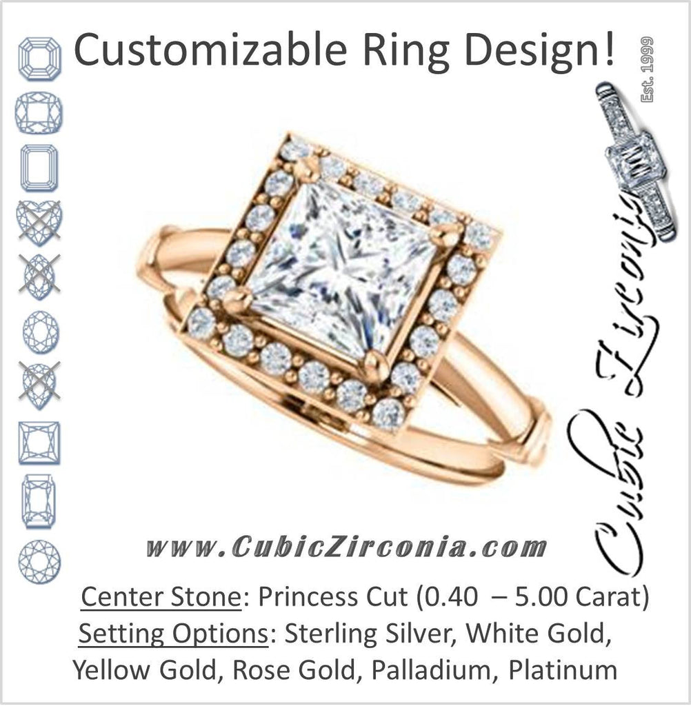 Cubic Zirconia Engagement Ring- The Lianna (Customizable Halo-Style Princess Cut Design)