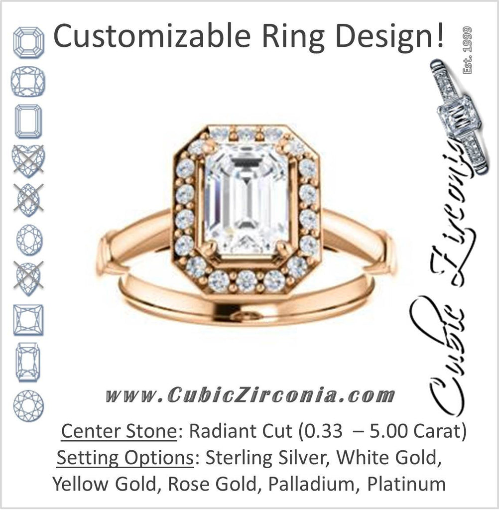 Cubic Zirconia Engagement Ring- The Lianna (Customizable Halo-Style Radiant Cut Design)