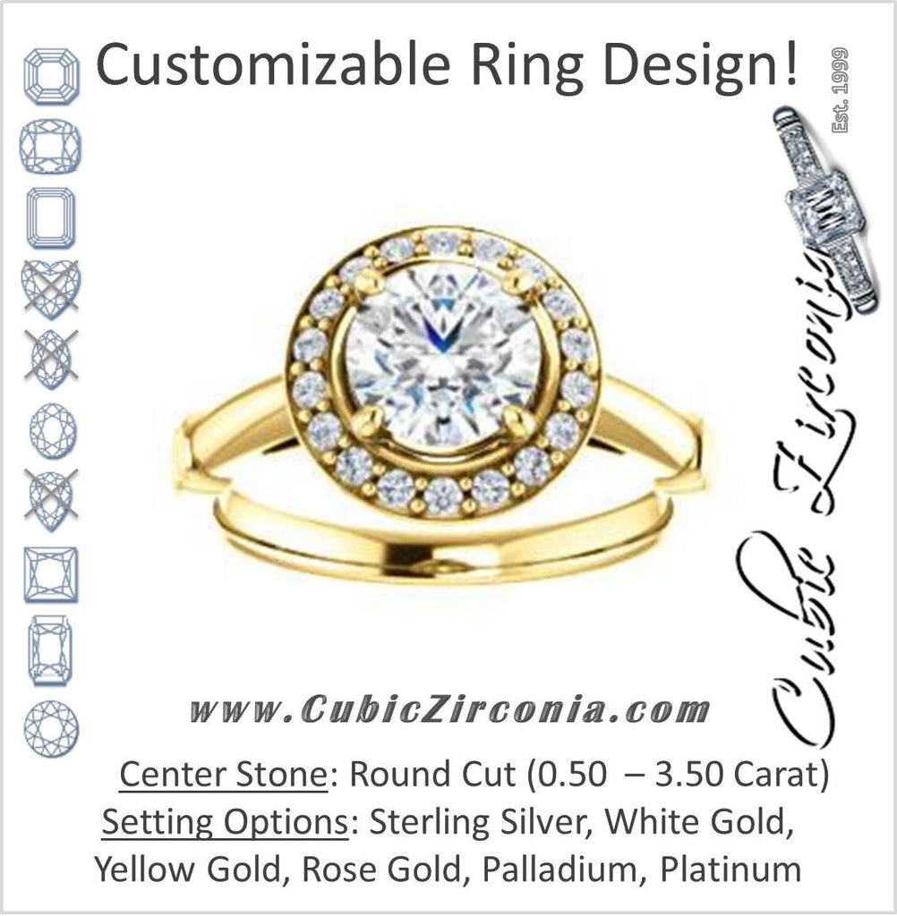 Cubic Zirconia Engagement Ring- The Lianna (Customizable Halo-Style Round Cut Design)