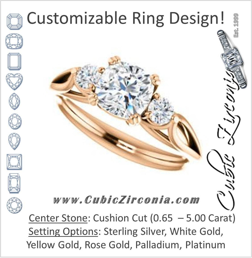 Cubic Zirconia Engagement Ring- The Libby Leigh (Customizable 3-stone Cushion Cut Design with Flanking Round Accents and Wide Curve-Split Band)
