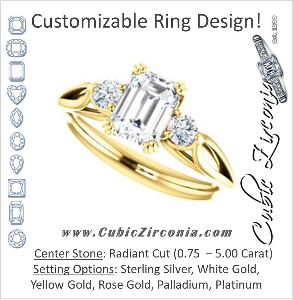 Cubic Zirconia Engagement Ring- The Libby Leigh (Customizable 3-stone Radiant Cut Design with Flanking Round Accents and Wide Curve-Split Band)
