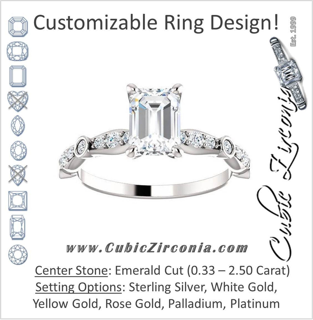 Cubic Zirconia Engagement Ring- The Lindsay (Emerald Cut Ladies' Belt-Inspired Customizable Setting with Bezel-Set Pave Band)