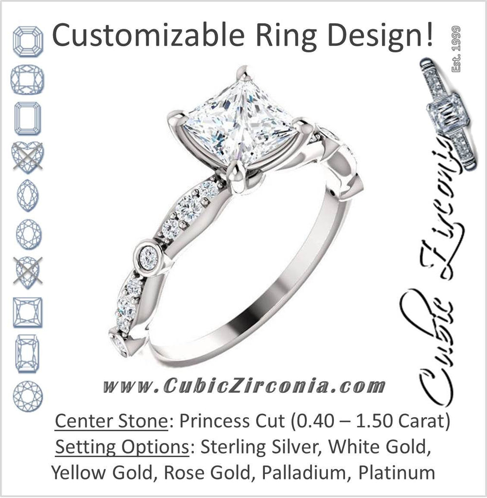 Cubic Zirconia Engagement Ring- The Lindsay (Princess Cut Ladies' Belt-Inspired Customizable Setting with Bezel-Set Pave Band)