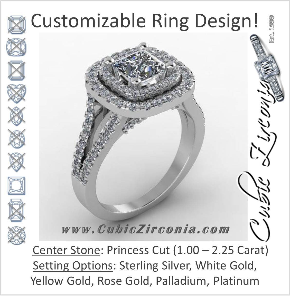 Cubic Zirconia Engagement Ring  The Lisa Love (2.25 TCW Princess Cut 2x  Halo With Split Band Pave And Sapphire Peekaboo)