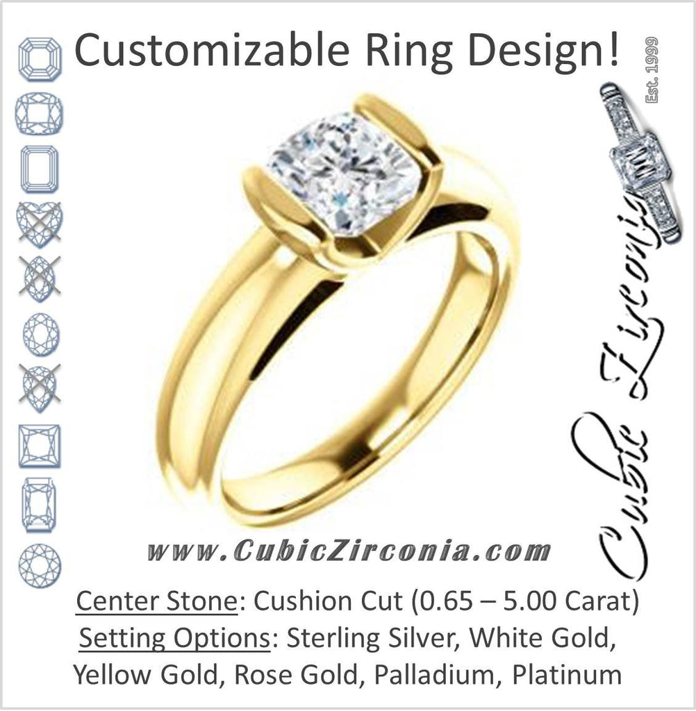 Cubic Zirconia Engagement Ring- The Liza Bella (Customizable Cushion Cut Cathedral Bar-set Solitaire)