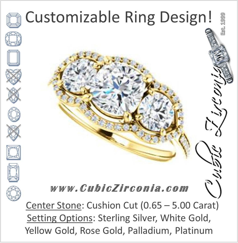 Cubic Zirconia Engagement Ring- The Lizabeth (Customizable Cushion Cut Enhanced 3-stone Style with Tri-Halos & Thin Pavé Band)