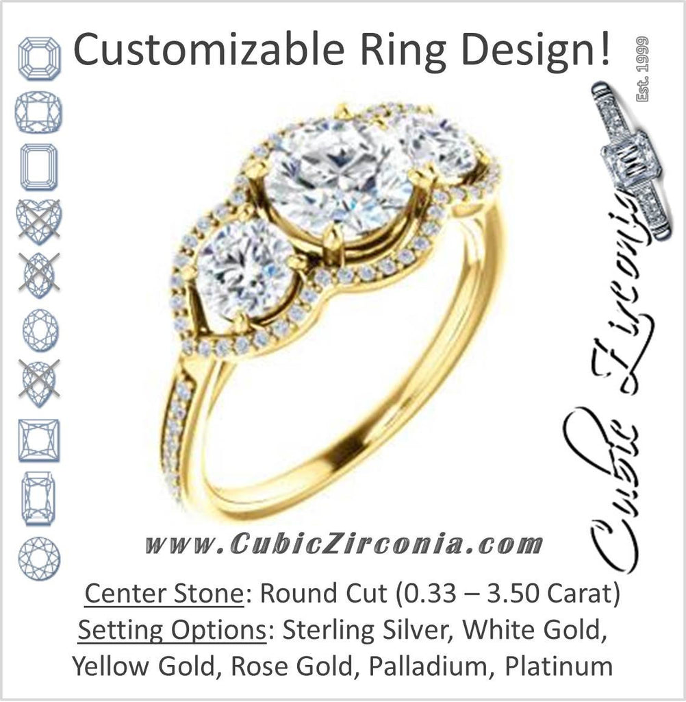 Cubic Zirconia Engagement Ring- The Lizabeth (Customizable Round Cut Enhanced 3-stone Style with Tri-Halos & Thin Pavé Band)