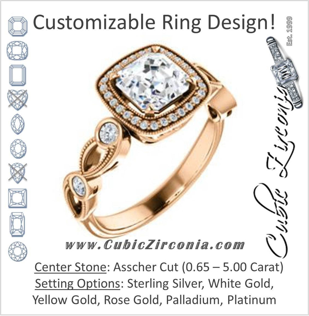 Cubic Zirconia Engagement Ring- The Lois Belle (Customizable Asscher Cut Halo-Style with Twisting Filigreed Infinity Split-Band)