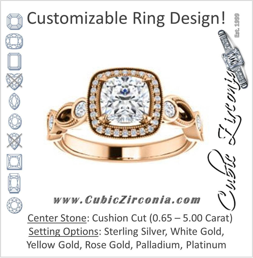 Cubic Zirconia Engagement Ring- The Lois Belle (Customizable Cushion Cut Halo-Style with Twisting Filigreed Infinity Split-Band)