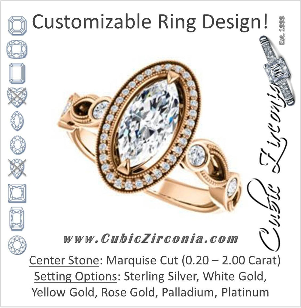 Cubic Zirconia Engagement Ring- The Lois Belle (Customizable Marquise Cut Halo-Style with Twisting Filigreed Infinity Split-Band)
