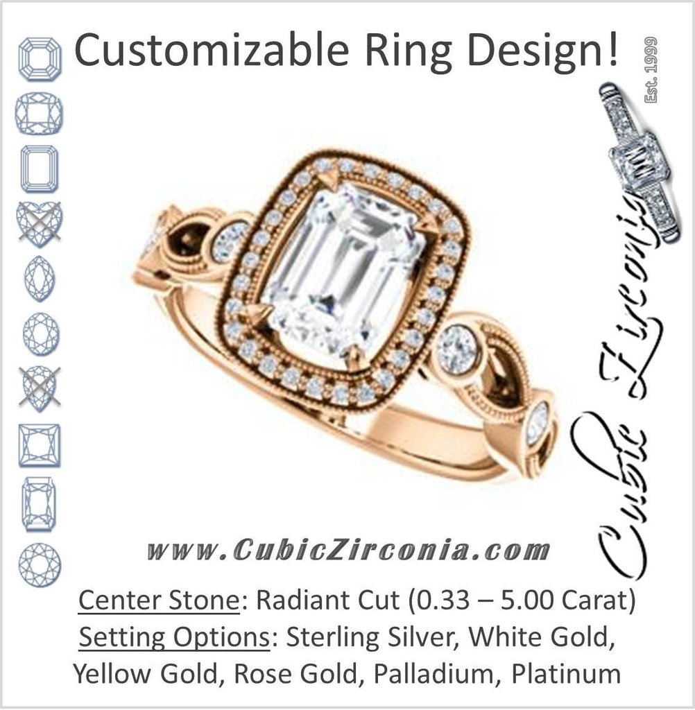 Cubic Zirconia Engagement Ring- The Lois Belle (Customizable Radiant Cut Halo-Style with Twisting Filigreed Infinity Split-Band)