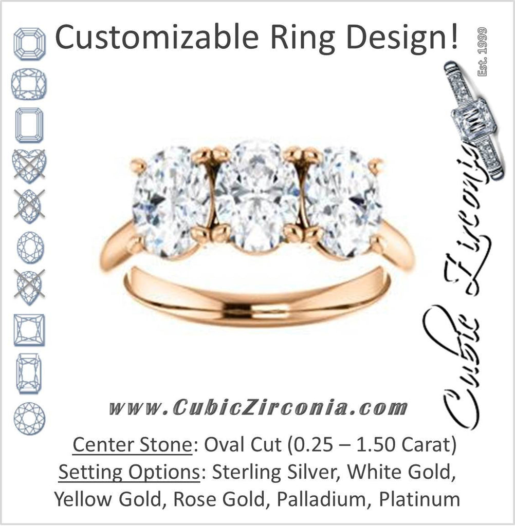Cubic Zirconia Engagement Ring- The Londyn (Customizable Triple Oval Cut 3-stone Style)