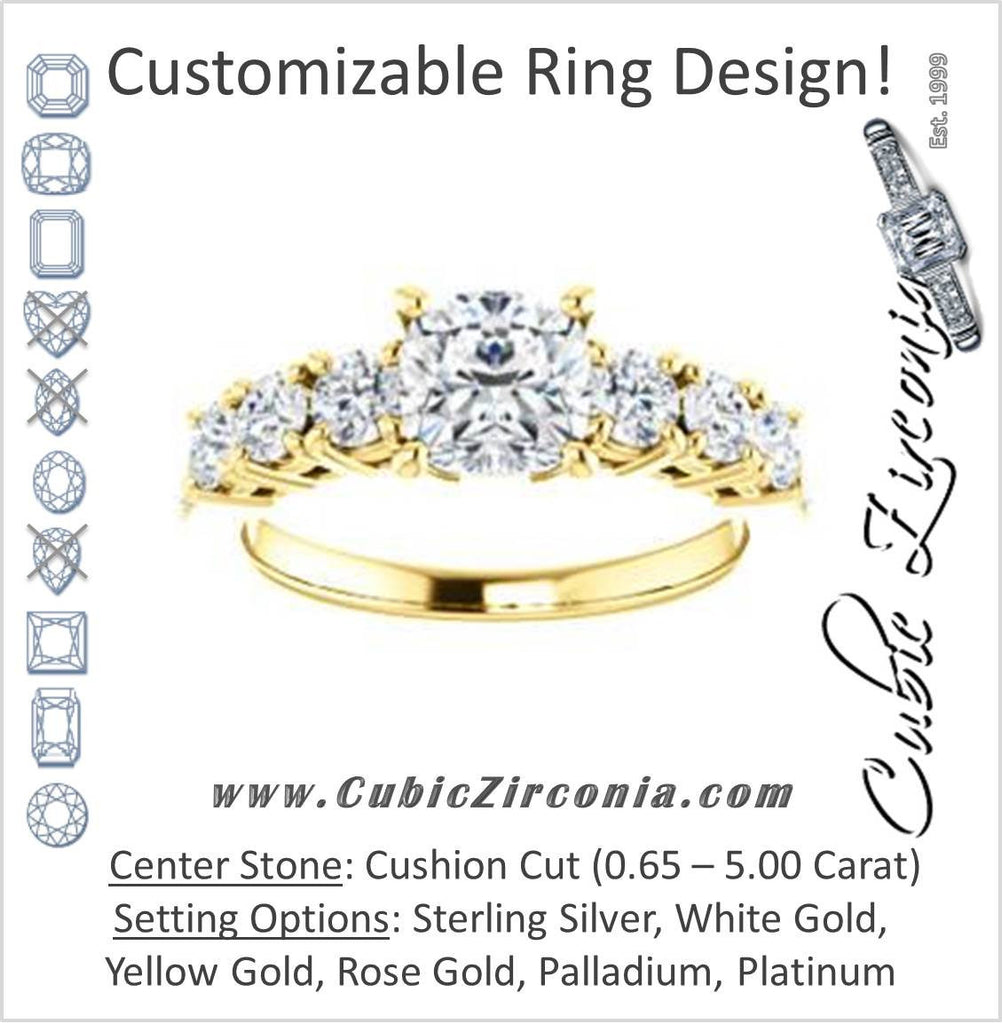 Cubic Zirconia Engagement Ring- The Lorelei (Customizable Enhanced 7-stone Cushion Cut Style with Pavé Band)