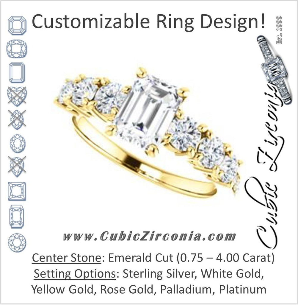 Cubic Zirconia Engagement Ring- The Lorelei (Customizable Enhanced 7-stone Emerald Cut Style with Pavé Band)