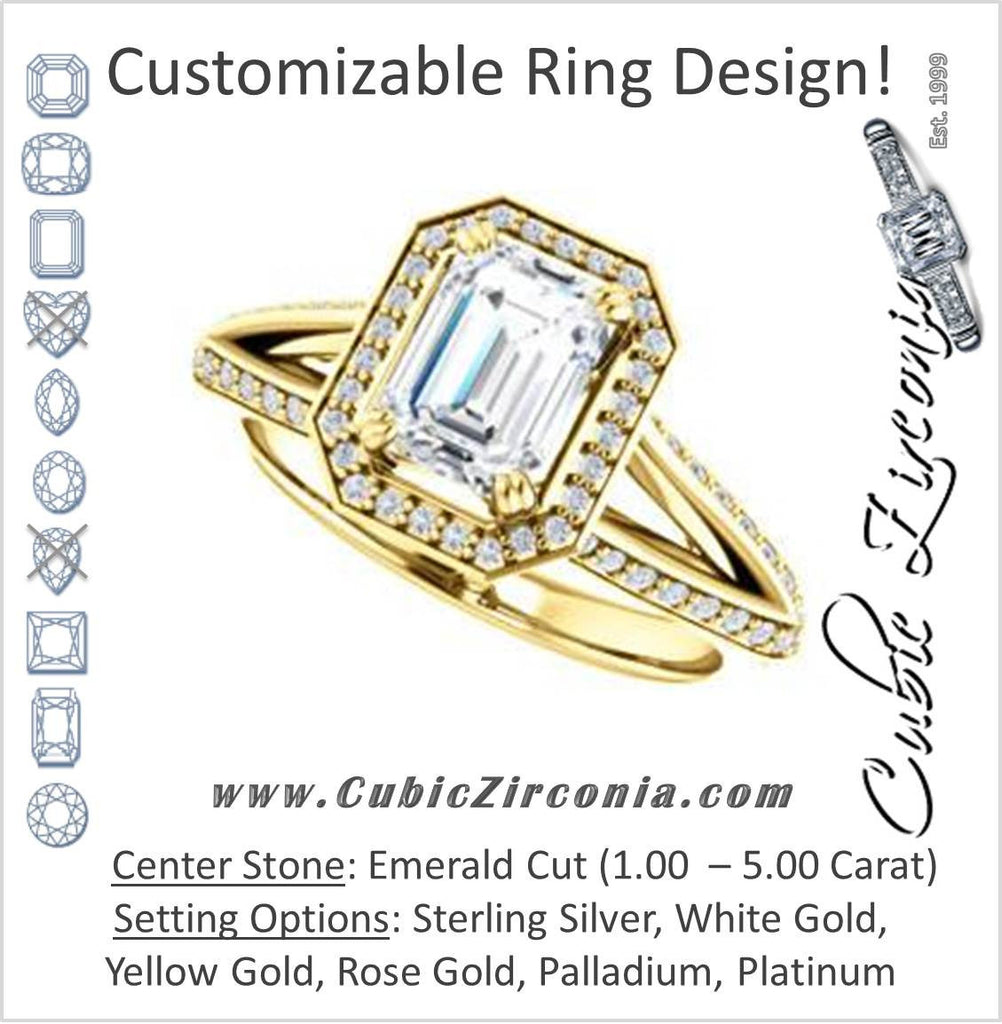 Cubic Zirconia Engagement Ring- The Loren (Customizable Emerald Cut Halo Design featuring Three-sided Twisting Pavé Split Band)
