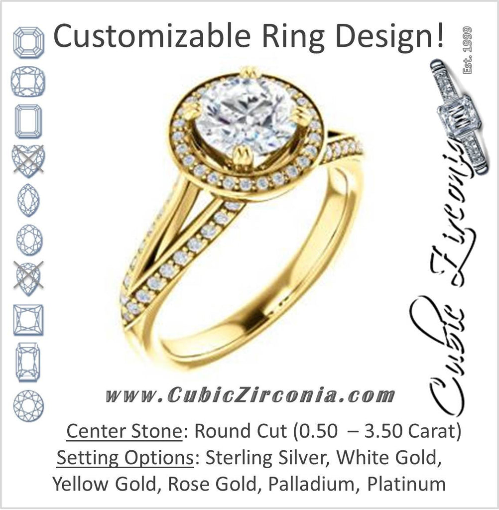 Cubic Zirconia Engagement Ring- The Loren (Customizable Round Cut Halo Design featuring Three-sided Twisting Pavé Split Band)