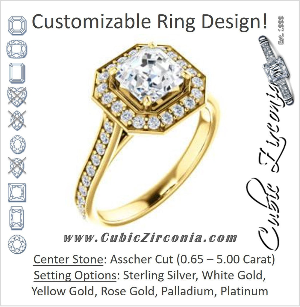Cubic Zirconia Engagement Ring- The Lorie Ella (Customizable Artisan-Cathedral Asscher Cut with Halo and Pavé Accents)