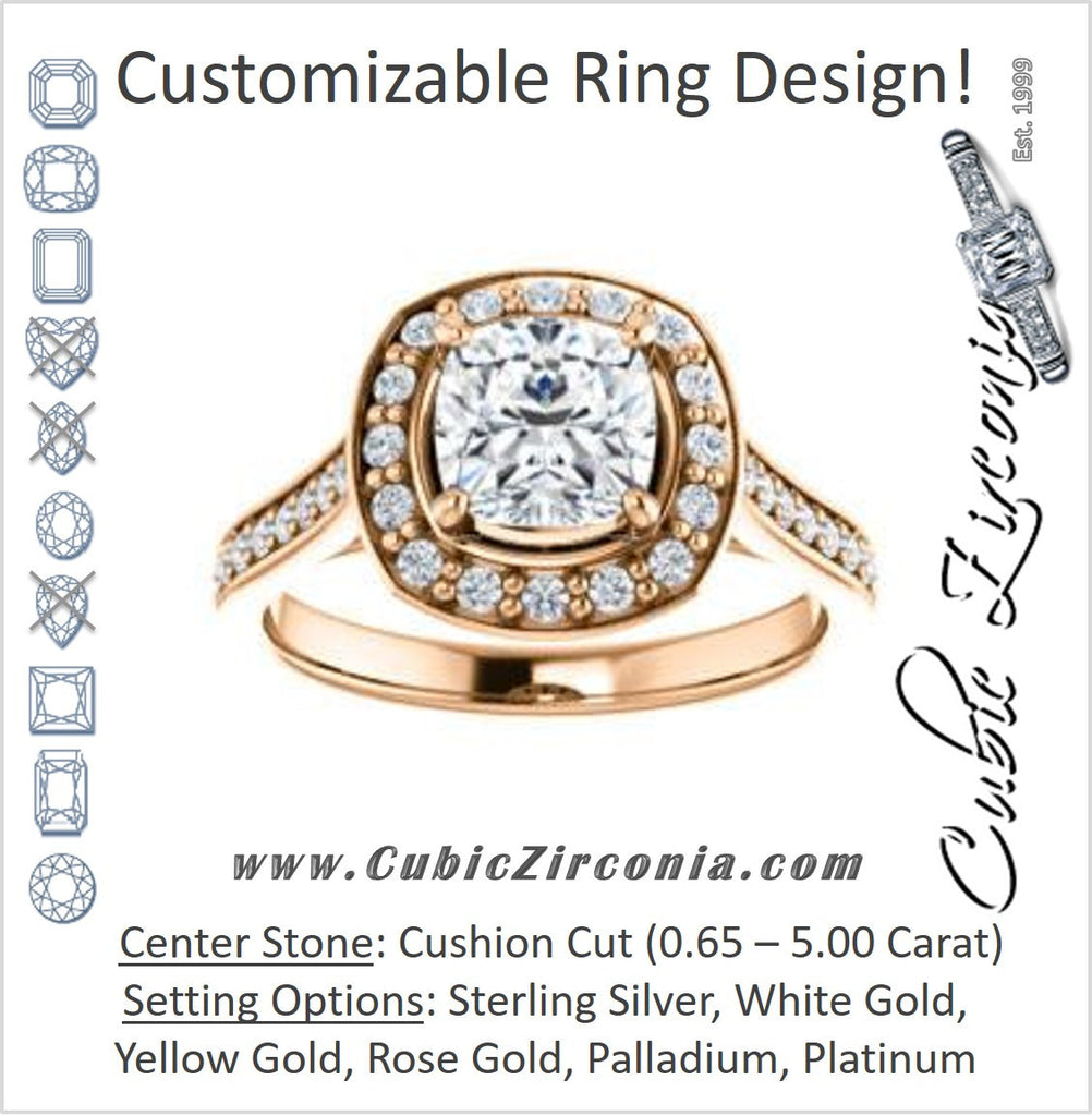 Cubic Zirconia Engagement Ring- The Lorie Ella (Customizable Artisan-Cathedral Cushion Cut with Halo and Pavé Accents)