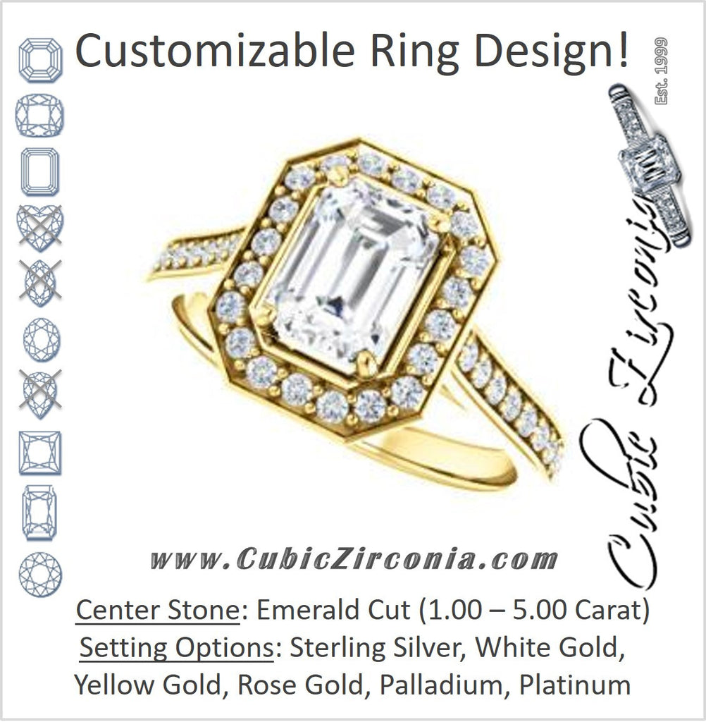 Cubic Zirconia Engagement Ring- The Lorie Ella (Customizable Artisan-Cathedral Emerald Cut with Halo and Pavé Accents)