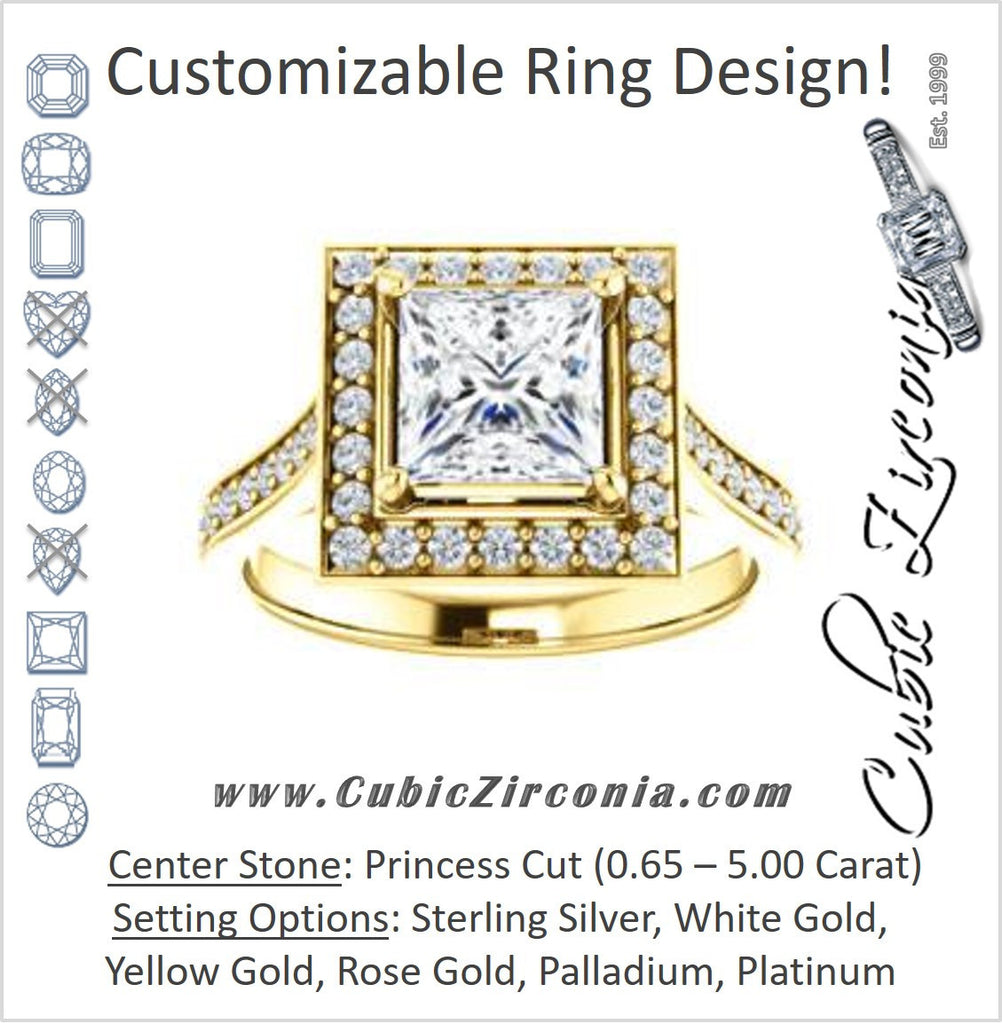 Cubic Zirconia Engagement Ring- The Lorie Ella (Customizable Artisan-Cathedral Princess Cut with Halo and Pavé Accents)