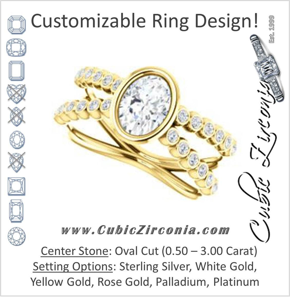 Cubic Zirconia Engagement Ring- The Lottie (Customizable Oval Cut Design featuring Wide Beaded Split Band with Round Bezel-set Accents)