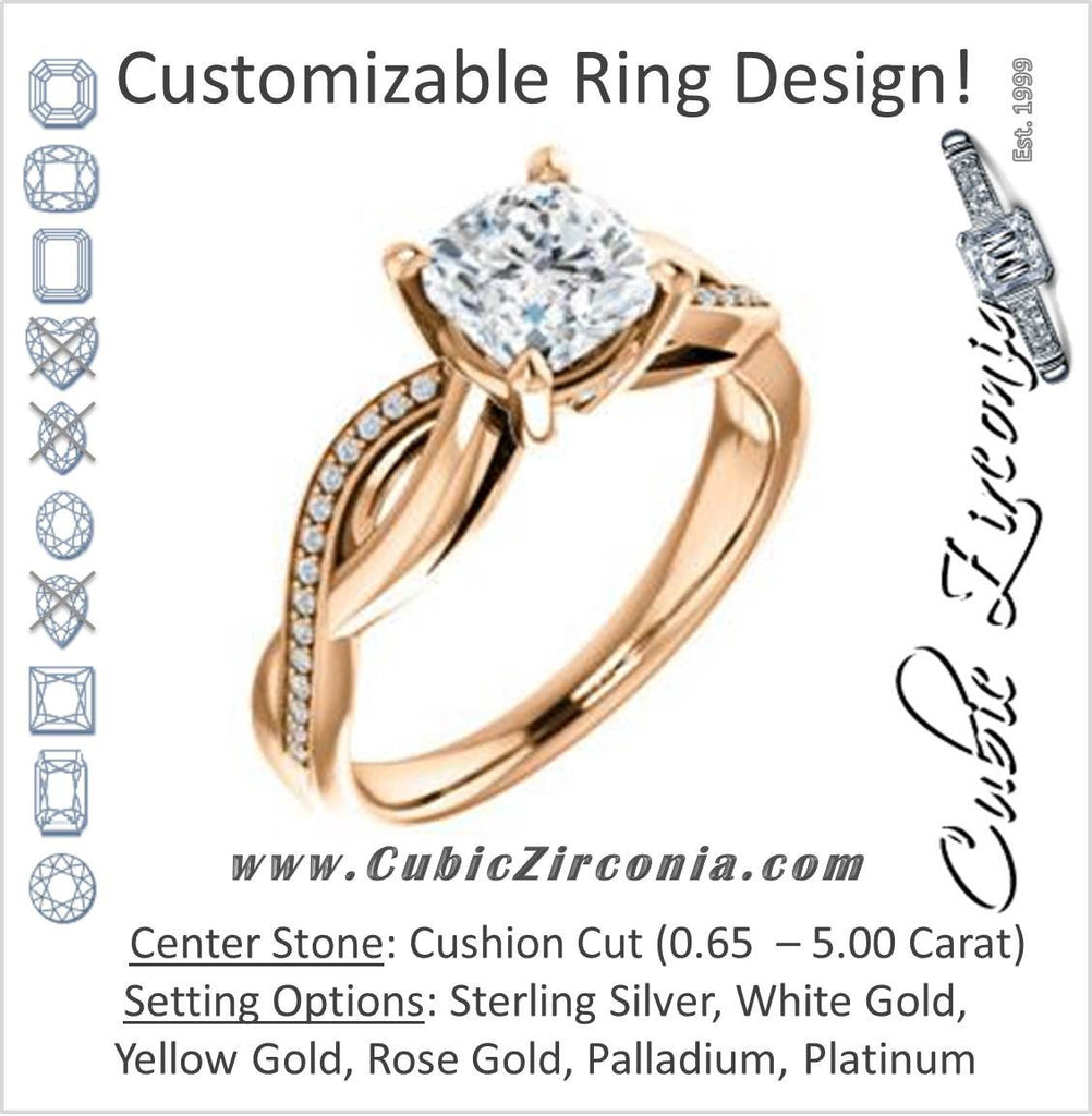Cubic Zirconia Engagement Ring- The Louisa (Customizable Cushion Cut Design with Twisting Split Pavé Band and Underhalo Accents)