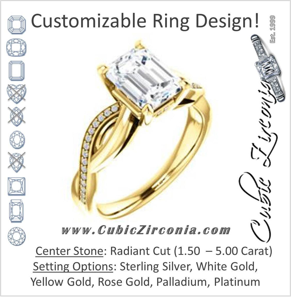 Cubic Zirconia Engagement Ring- The Louisa (Customizable Radiant Cut Design with Twisting Split Pavé Band and Underhalo Accents)