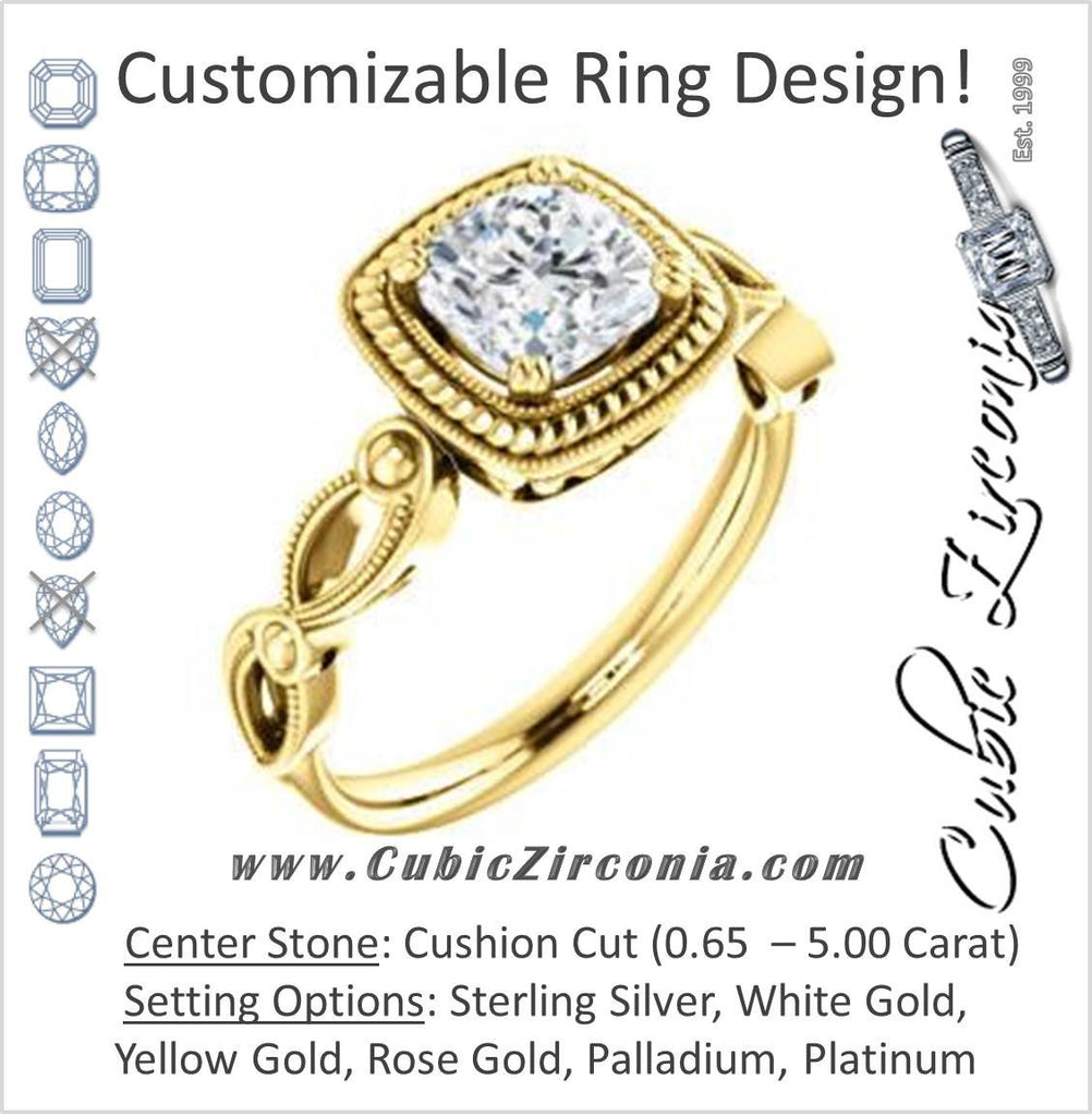 Cubic Zirconia Engagement Ring- The Lucille May (Customizable Cushion Cut Solitaire featuring Filigree Faux Halo and Infinity Split Band)
