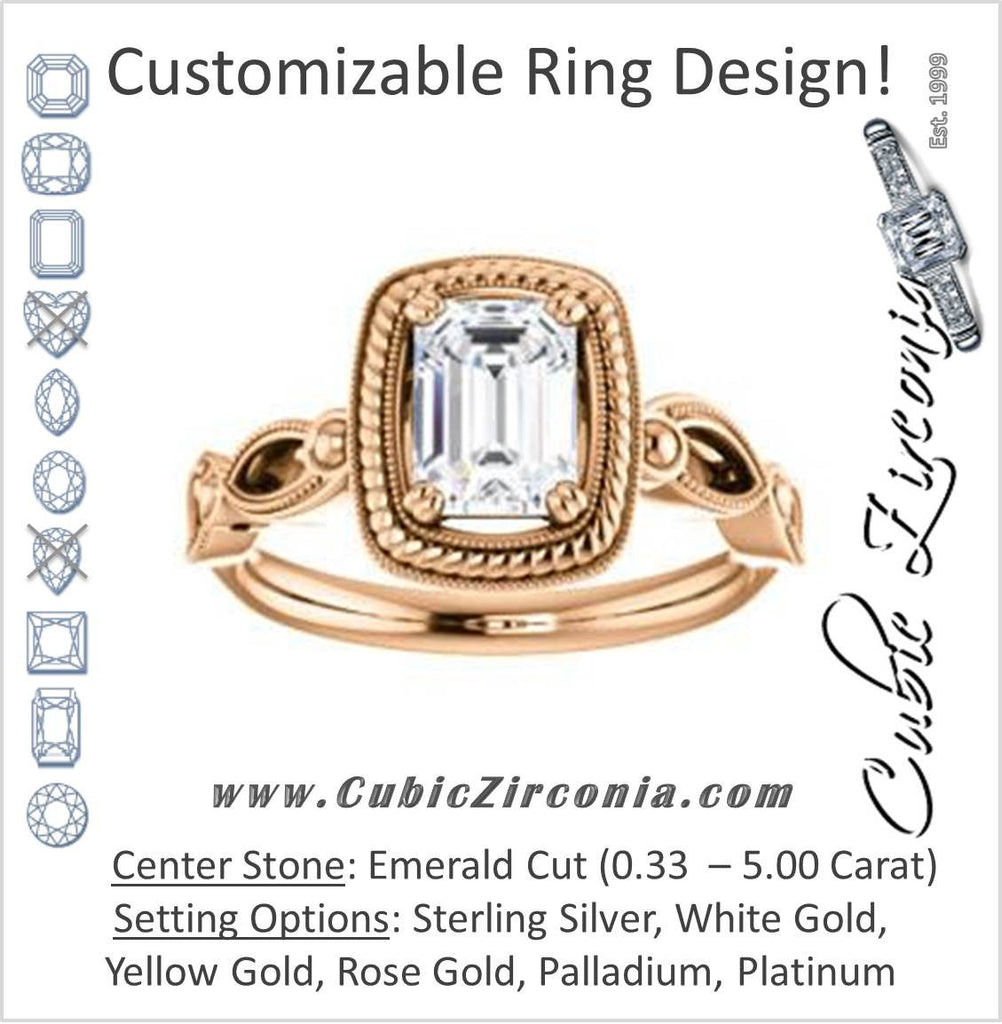 Cubic Zirconia Engagement Ring- The Lucille May (Customizable Emerald Cut Solitaire featuring Filigree Faux Halo and Infinity Split Band)