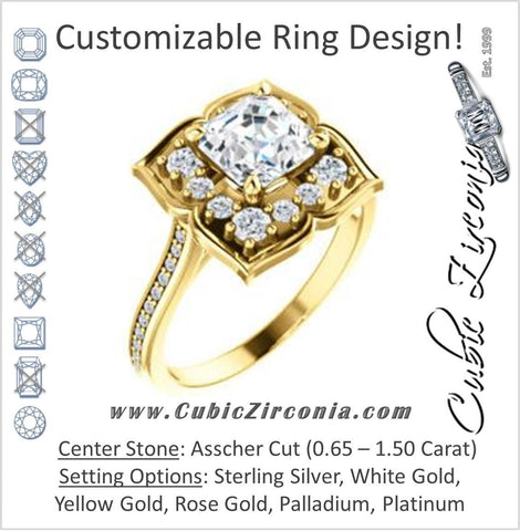 Cubic Zirconia Engagement Ring- The Lucinda (Customizable Asscher Cut Halo-Clover Style with Thin Pavé Band)