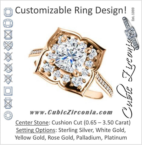 Cubic Zirconia Engagement Ring- The Lucinda (Customizable Cushion Cut Halo-Clover Style with Thin Pavé Band)