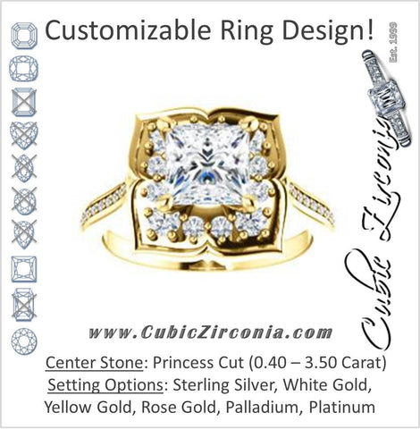 Cubic Zirconia Engagement Ring- The Lucinda (Customizable Princess Cut Halo-Clover Style with Thin Pavé Band)