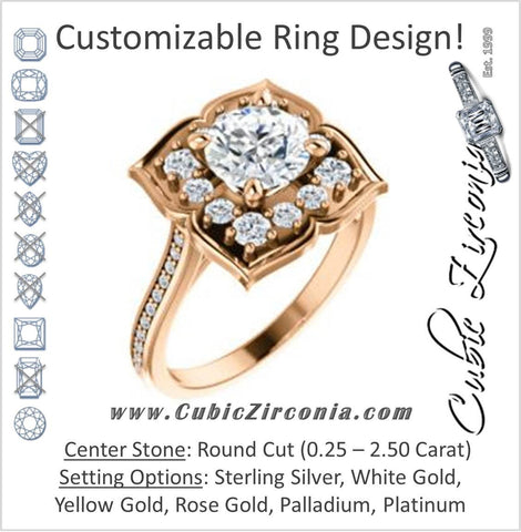 Cubic Zirconia Engagement Ring- The Lucinda (Customizable Round Cut Halo-Clover Style with Thin Pavé Band)