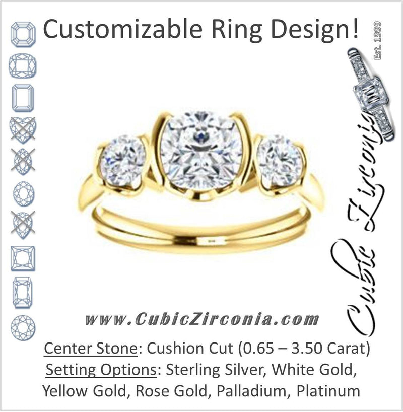 Cubic Zirconia Engagement Ring- The Lula (Customizable 3-stone Bezel Design with Cushion Cut Center and Round Cut Accents)
