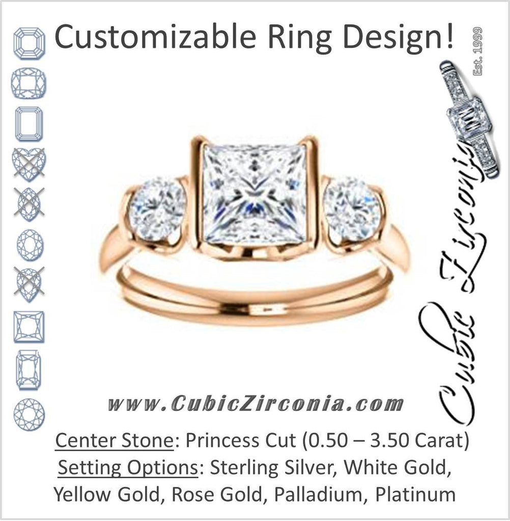Cubic Zirconia Engagement Ring- The Lula (Customizable 3-stone Bezel Design with Princess Cut Center and Round Cut Accents)