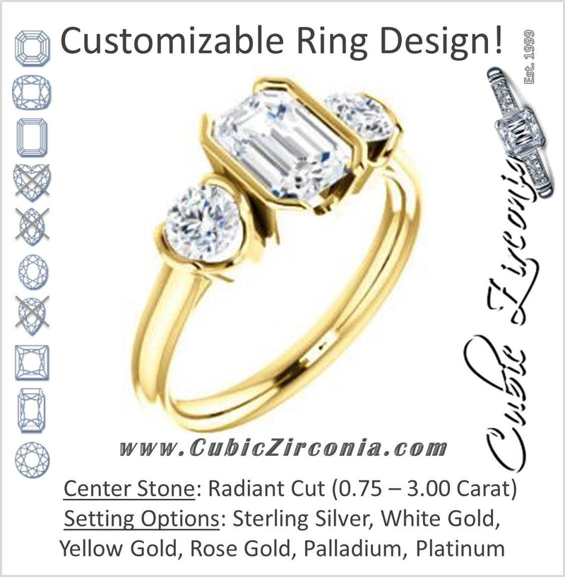 Cubic Zirconia Engagement Ring- The Lula (Customizable 3-stone Bezel Design with Radiant Cut Center and Round Cut Accents)