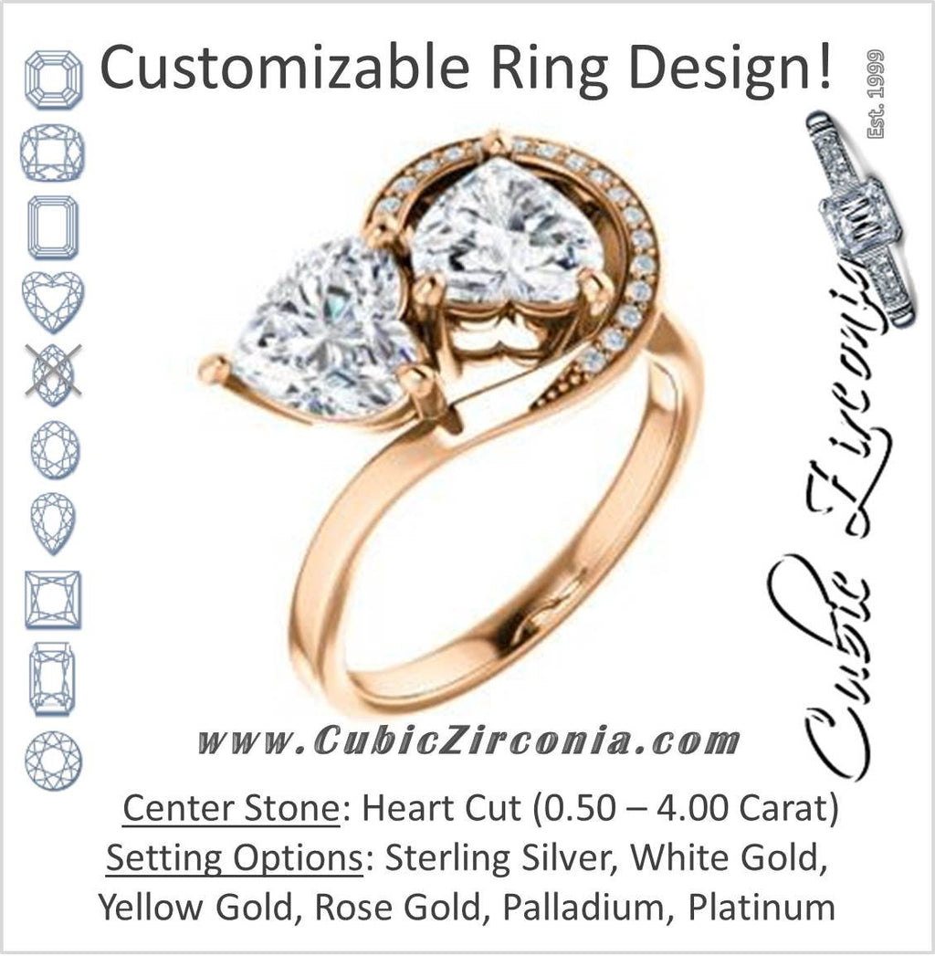 Cubic Zirconia Engagement Ring- The Lupita (Customizable Enhanced 2-stone Asymmetrical Heart Cut Design with Semi-Halo)
