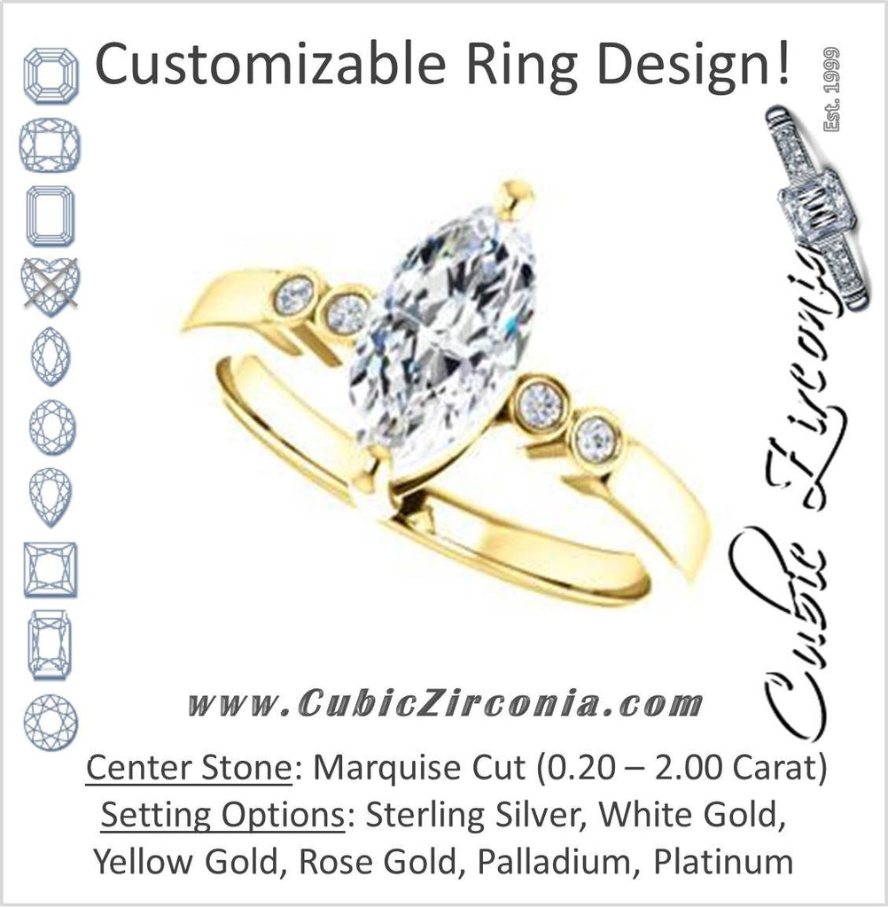 Cubic Zirconia Engagement Ring- The Luzella (Customizable 5-stone Design with Marquise Cut Center and Round Bezel Accents)