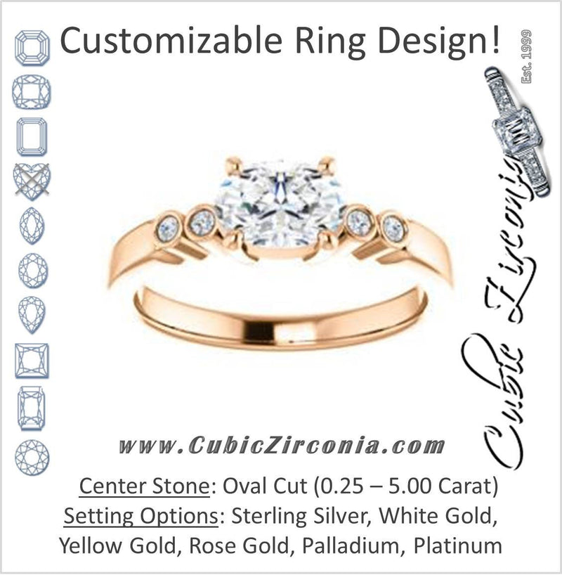 Cubic Zirconia Engagement Ring- The Luzella (Customizable 5-stone Design with Oval Cut Center and Round Bezel Accents)