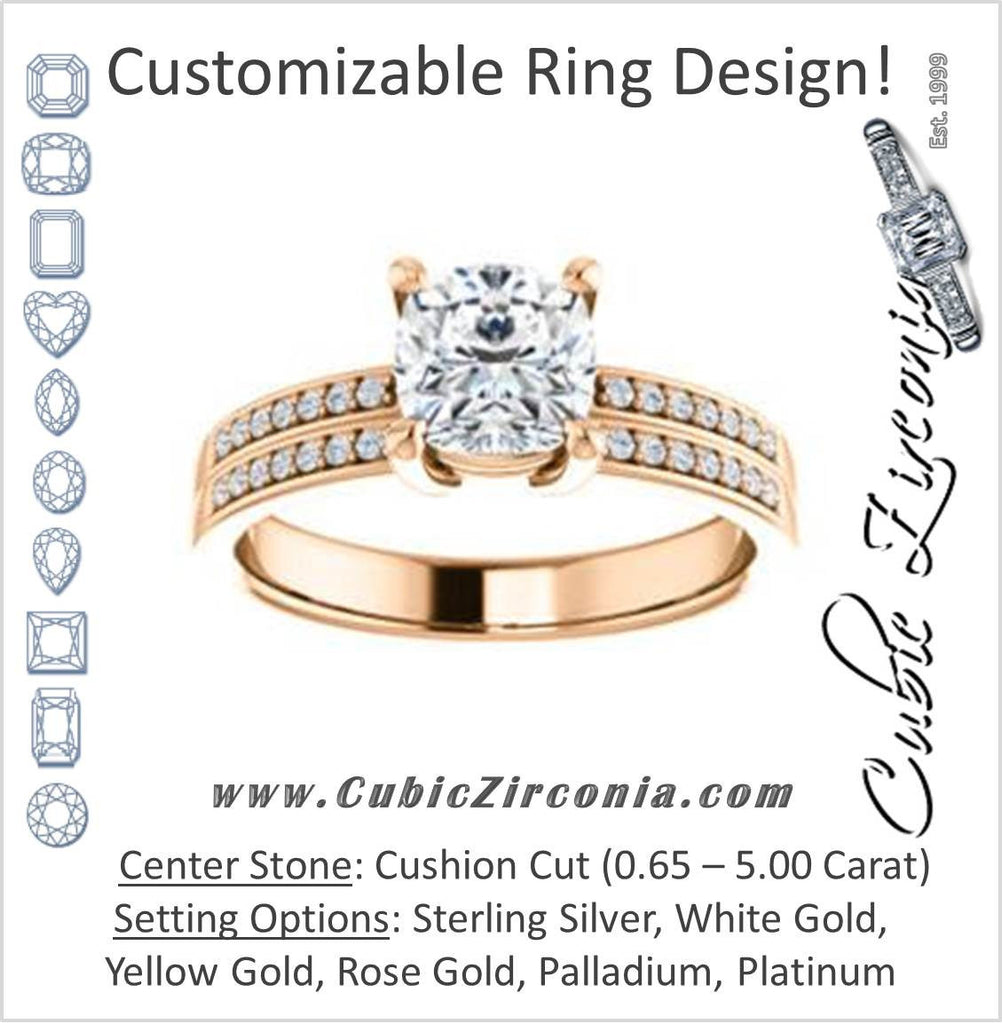 Cubic Zirconia Engagement Ring- The Lyla Ann (Customizable Cushion Cut Design with Wide Double-Pavé Band)