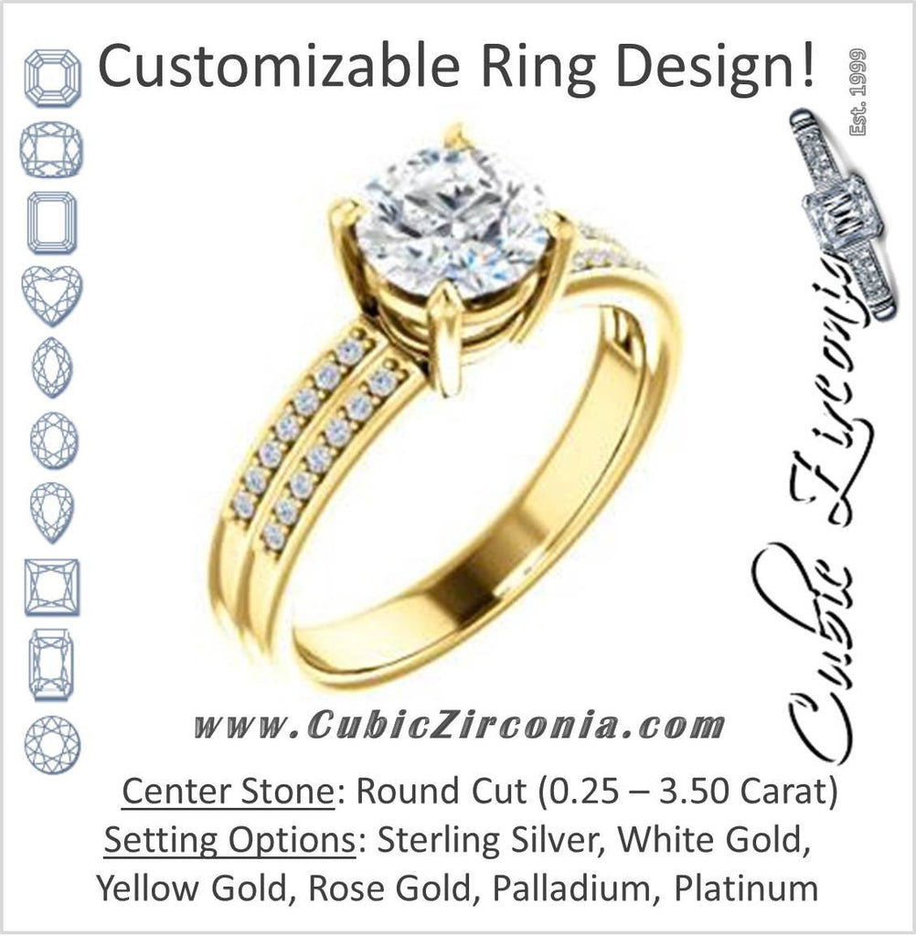 Cubic Zirconia Engagement Ring- The Lyla Ann (Customizable Round Cut Design with Wide Double-Pavé Band)