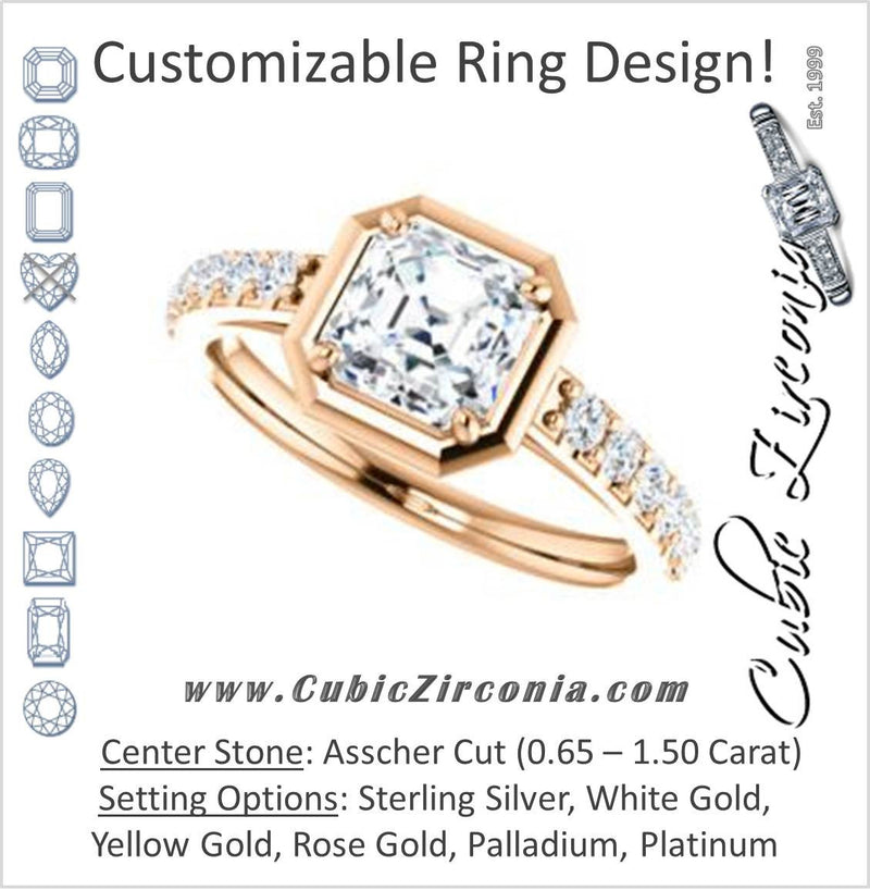 Cubic Zirconia Engagement Ring- The Lynette (Customizable Cathedral-style Bezel-set Asscher Cut 13-stone Design with Round Band Accents)